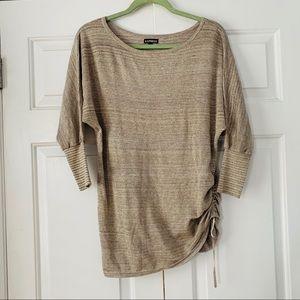 3/4 Sleeve Tan/Gold Knit Dolman by Express Sz Sm